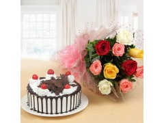 Black Forest with Mix Roses Combo