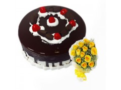 Black Forest with Yellow Roses Combo