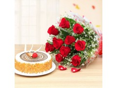 Butterscotch with Red Roses Combo