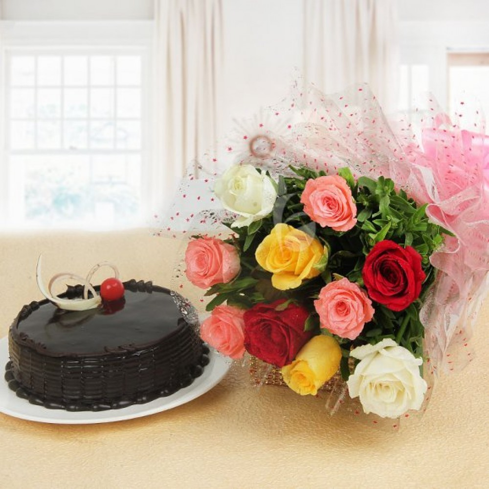 Choclate Tuffle cake with Mix Roses Combo