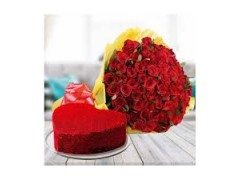 Red Velvet Cake With Red Roses Combo
