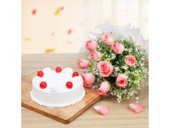 Vanilla Cake With Pink Roses Combo